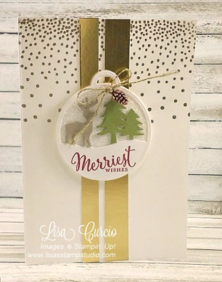 Merriest Wishes Metallic Tag Card, Free PDf tutorial, lisasstampstudio.com, Lisa's Stamp Studio
