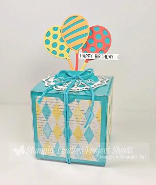 Balloon Adventures Gift Box tutorial, Lisa's Stamp Studio