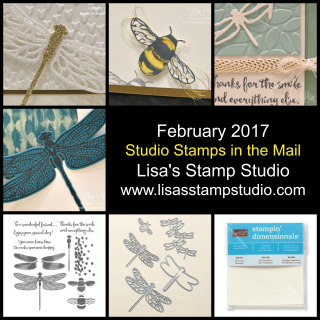 February 2017 Studio Stamps in the Mail, Lisa's Stamp Studio. www.lisasstampstudio.com