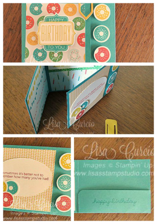 Tri-Fold Gift Card Holder, fancy fold, PDF tutorial, Lisa's Stamp Studio, www.lisasstampstudio.com
