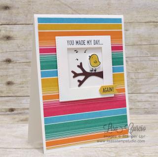 Basket Bunch Singing Chick card, Stampin' Up!, card, paper, craft, scrapbook, rubber stamp, hobby, how to, DIY, handmade, Live with Lisa, Lisa's Stamp Studio, Lisa Curcio, www.lisasstampstudio.com
