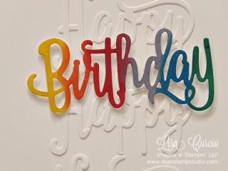 Happy Birthday rainbow greeting card, Stampin' Up!, card, paper, craft, scrapbook, rubber stamp, hobby, how to, DIY, handmade, Live with Lisa, Lisa's Stamp Studio, Lisa Curcio, www.lisasstampstudio.com
