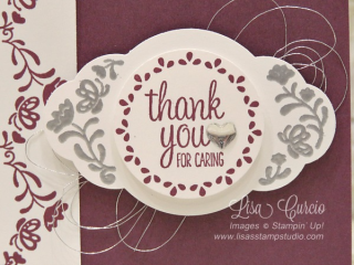 Fresh Fig & Label Me Pretty Thank You Card, Stampin' Up!, card, paper, craft, scrapbook, rubber stamp, hobby, how to, DIY, handmade, Live with Lisa, Lisa's Stamp Studio, Lisa Curcio, www.lisasstampstudio.com