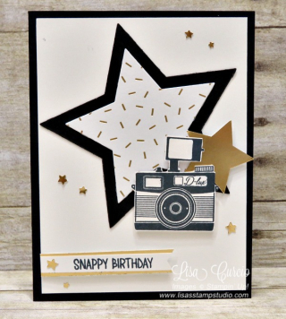 Pun Intended, Snappy Birthday, Stampin' Up!, card, paper, craft, scrapbook, rubber stamp, hobby, how to, DIY, handmade, Live with Lisa, Lisa's Stamp Studio, Lisa Curcio, www.lisasstampstudio.com