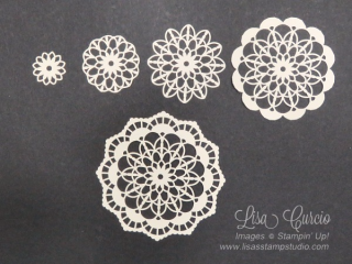 Quick Crafting Tip, 5 different designs with Lace Doilies, Stampin' Up!, card, paper, craft, scrapbook, rubber stamp, hobby, how to, DIY, handmade, Live with Lisa, Lisa's Stamp Studio, Lisa Curcio, www.lisasstampstudio.com