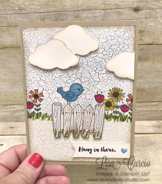 Garden Girl - hang in there card. Stampin' Up!, card, paper, craft, scrapbook, rubber stamp, hobby, how to, DIY, handmade, Live with Lisa, Lisa's Stamp Studio, Lisa Curcio, www.lisasstampstudio.com