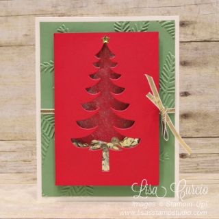 Santa's Sleigh Christmas Tree Shaker Card, Lisa's Stamp Studio, www.lisasstampstudio.com