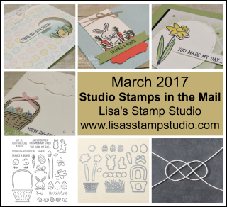 Studio Stamps in the Mail, stamps, framelits, precut supplies, video and PDF tutorial, accessories and a free Sale-A-Bration* product shipped right to your home. Lisa's Stamp Studio, www.lisasstampstudio.com