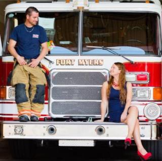 Joey & Lisa on fire truck