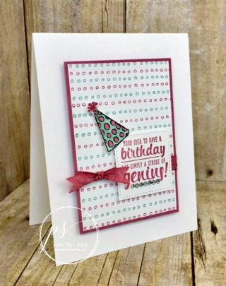 Fun to create using a simple dotted image.  Free tutorial! Stampin' Up!, card, paper, craft, scrapbook, rubber stamp, hobby, how to, DIY, handmade, Live with Lisa, Lisa's Stamp Studio, Lisa Curcio, www.lisasstampstudio.comGenuine Birthday!