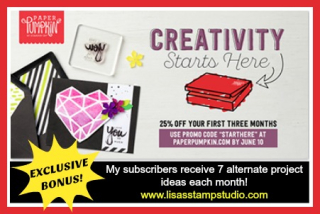 Creativity Starts Here  Paper Pumpkin June-August Promotion includes free alternate project ideas. Exclusive to Lisa's Stamp Stu