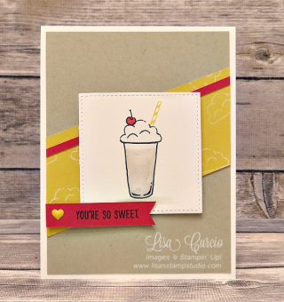 Mixed Drinks Textured Milkshake Card, Stampin' Up!, card, paper, craft, scrapbook, rubber stamp, hobby, how to, DIY, handmade, Live with Lisa, Lisa's Stamp Studio, Lisa Curcio, www.lisasstampstudio.com