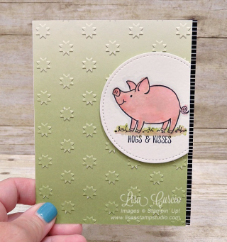This Little Piggy on ombre embossed designer paper, Stampin' Up!, card, paper, craft, scrapbook, rubber stamp, hobby, how to, DIY, handmade, Live with Lisa, Lisa's Stamp Studio, Lisa Curcio, www.lisasstampstudio.com