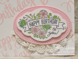 Label Me Pretty and Stylized Birthday create a beautiful, feminine card. Stampin' Up!, card, paper, craft, scrapbook, rubber stamp, hobby, how to, DIY, handmade, Live with Lisa, Lisa's Stamp Studio, Lisa Curcio, www.lisasstampstudio.com